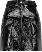 River Island Womens Black vinyl zip front mini skirt