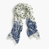 J.Crew Polka-dot scarf with paisley trim