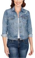 Lucky Brand Womens Embroidered Jean Jacket windyblue XS