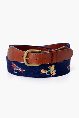 Smathers and Branson Dark Navy Fishing Flies Needlepoint Belt