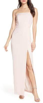 WAYF The Mila Strapless Slit Column Gown