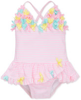 Little Me 1-Pc. Striped Skirted Swimsuit, Baby Girls (0-24 months)