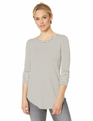 Daily Ritual Supersoft Terry Long-Sleeve Shirt With Shirttail Hem White-Black Skinny Stripe