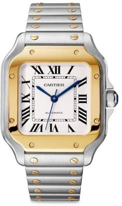 Cartier Santos de Medium 18K Yellow Gold & Stainless Steel Two-Strap Watch