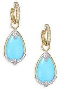 Jude Frances Women's Provence Diamond Champagne Pear Stone Drop Earring Charms