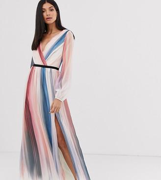 Little Mistress Tall ombre stripe long sleeve printed wrap dress