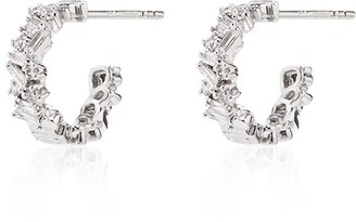 Suzanne Kalan 18kt white gold and diamond hoop earrings