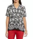 Preston & York-preston york ivy lace print pleated blouse
