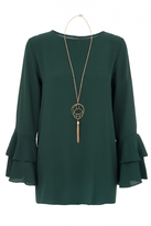 Quiz Green Double Frill Sleeve Necklace Top