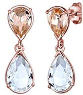 Elli Women Gold Plated 925 Sterling Silver Drop Crystal Earrings