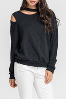 Lush Clothing Cutout Charcoal Sweatshirt