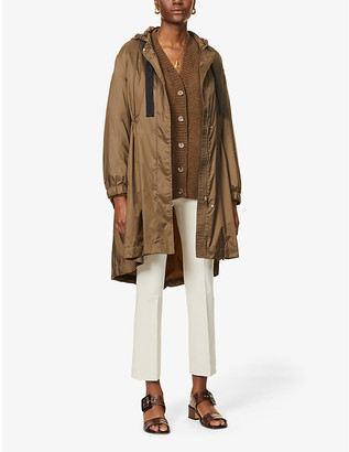 S Max Mara Ladies Brown Parka Drawstring-Waist Shell Coat, Size: 2