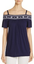 Design History Embroidered Cold Shoulder Top
