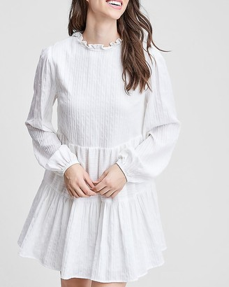 Express En Saison Long Sleeve Tiered Mini Dress