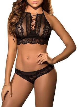Mapalé Lace Up Ribbon Wireless Bra Set