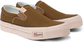 Visvim Skagway Leather-Trimmed Canvas Slip-On Sneakers