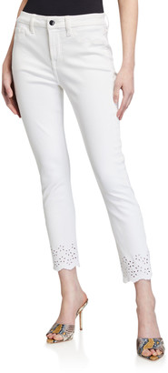 JEN7 by 7 For All Mankind Ankle Skinny Eyelet Mid-Rise Jeans