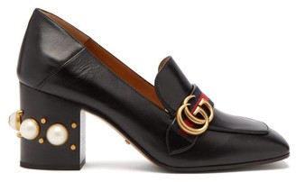 Gucci Peyton Pearl-embellished Leather Loafers - Womens - Black