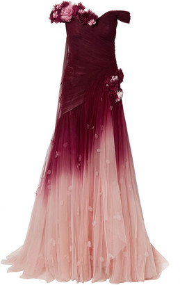 Marchesa Off-the-shoulder Appliqued Degrade Tulle Gown