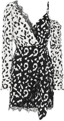 Self-Portrait Lace-trimmed leopard-print dress