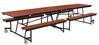 Rectangular Bench Cafeteria Table National Public Seating Tabletop Color: Banister Oak, Size: 8' L x 4.5' W