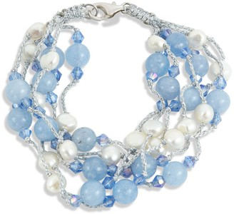 Savvy Cie Sterling Silver with Blue Agate & Freshwater Pearl Bracelet