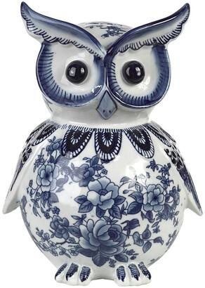 Pols Potten Porcelain Piggy Bank - Blue/White - Owl