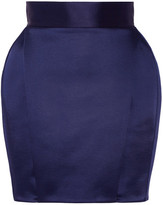 Balmain Pleated Satin Mini Skirt - Navy