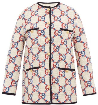 Gucci Gg Boucle Tweed Jacket - Womens - White Multi
