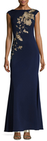 JS Collections Floral Embroidered Cowl Back Gown