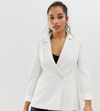 Forever New Petite pin stripe blazer-White