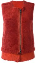 Giorgio Brato zipped round neck gilet - women - Sheep Skin/Shearling - 42