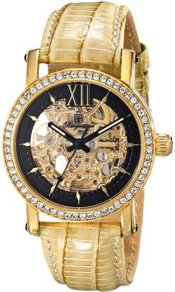 Burgmeister Ladies Automatic Watch with Gold Dial Analogue Display and Beige Leather Strap BM158-202