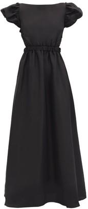 Sir - Valetta Puff-sleeve Cross-back Silk Dress - Black