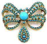 Kenneth Jay Lane Antique Gold and Blue Stone Bow Brooch