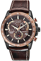 Citizen At4006-06x Perpetual Chrono A-t Eco-drive Leather Strap Watch, Brown