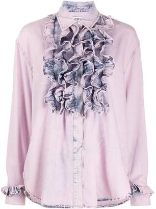MSGM Ruffled Bleached Denim Shirt