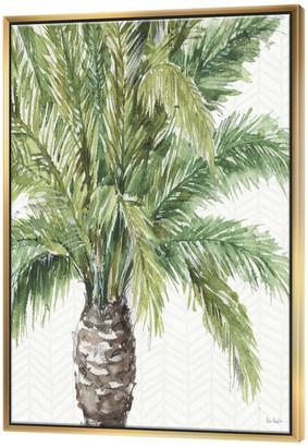 Designart Mixed Botanical Greens Palms V Farmhouse Painting Print, Gol