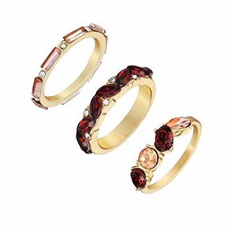 GUESS Women's 3 Piece Stacker Ring with Gold tone & Burgundy & Peach Colored Stones (8)