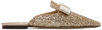 Jimmy Choo SSENSE Exclusive Gold Star Coarse Glitter Galaxy Flats