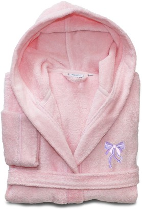 Linum Home Textiles Kids Bow Turkish Cotton Hooded Terry Bathrobe