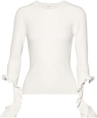 A.L.C. Robin Ruffle-trimmed Cutout Ribbed-knit Sweater
