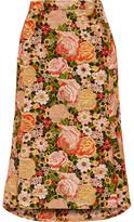 Balenciaga Pleated Embroidered Silk Skirt - Peach