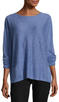 Eileen Fisher Long-Sleeve Linen-Blend Slub Top w/ Pockets