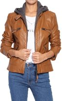 TheMogan Women's Rider Layered Hoodie Vegan Leather Jacket M