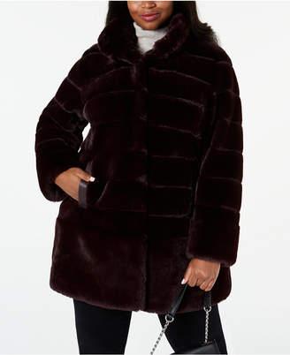 Jones New York Plus Size Faux-Fur Coat with Faux-Leather-Trim