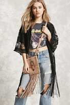 Forever 21 FOREVER 21+ Stud And Fringe Suede Crossbody