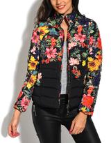 Black Floral Puffer Jacket