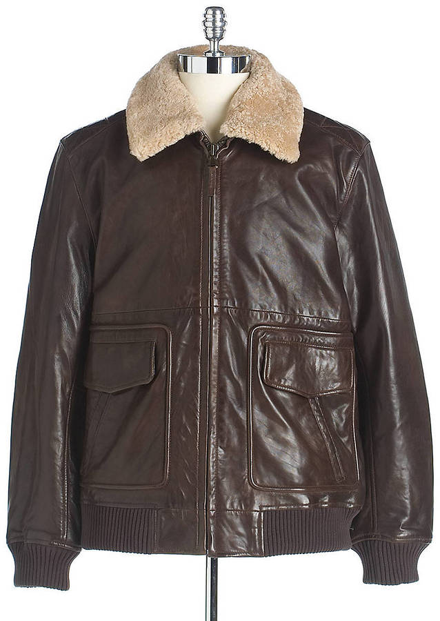 Black Brown 1826 Leather Bomber Jacket