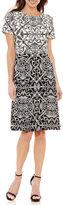 Liz Claiborne Short Sleeve Pattern Fit & Flare Dress